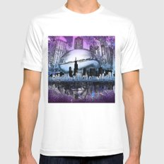 chicago city skyline LARGE Mens Fitted Tee White