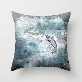 Fishing swordfish Throw Pillow
