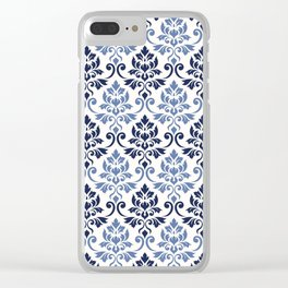 Feuille Damask Pattern Blues on Cream Clear iPhone Case