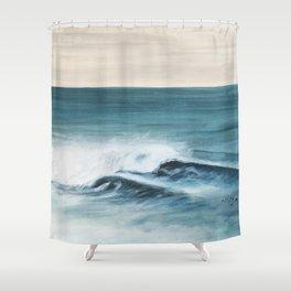 Surfing big waves Shower Curtain