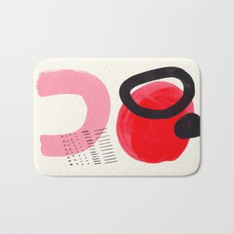 Vintage Abstract Mid Century Modern Playful Pink Red Candy Colors Organic Shapes Bath Mat