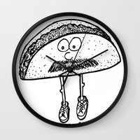 taco Wall Clocks featuring Taco by Addison Karl
