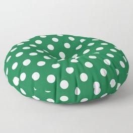 Polka Dots (White & Dark Green Pattern) Floor Pillow