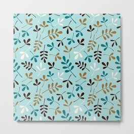 Assorted Leaf Silhouettes Teals Cream Brown Gold Ptn Metal Print