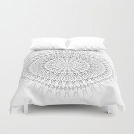 Light Grey White Mandala Duvet Cover