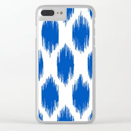IKAT pattern, indigo blue and white, 01 Clear iPhone Case