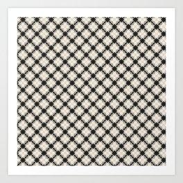white&black flower pattern Art Print