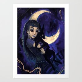 Hare in the moon Art Print