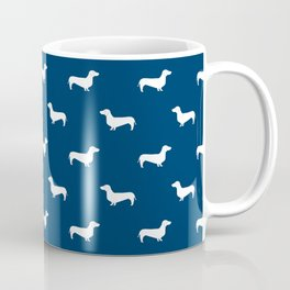 Dachshund Pattern Minimal Navy Blue And White Dog Lover Home Decor Gifts  Accessories Silhouette Coffee Mug