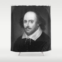 shakespeare Shower Curtains featuring William Shakespeare by Palazzo Art Gallery