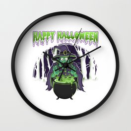Scary Witch Happy Halloween Cauldron Potion Wall Clock