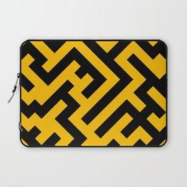 Black and Amber Orange Diagonal Labyrinth Laptop Sleeve