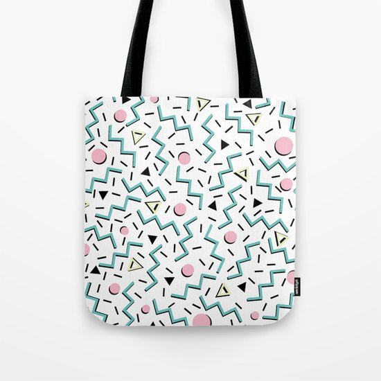 Back to the 80's eighties, funky memphis pattern design Tote Bag