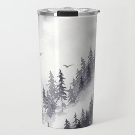 Winter misty mountain pine forst landscape watercolor painting Travel Mug