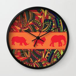 African Tribal Pattern No. 16 Wall Clock