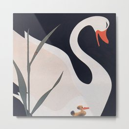 Swan and Duckling Vintage Art Metal Print