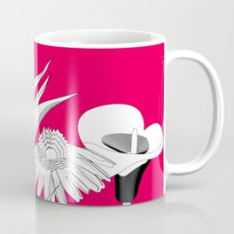 Spring Flowas Bring Girl Powas, Black and White Illustration Coffee Mug
