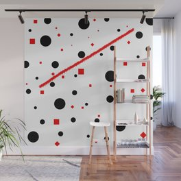 black and white meets red Version 3 Wall Mural