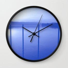 Lake in Blue Wall Clock