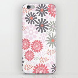 Floral pattern in pink and gray iPhone Skin