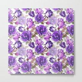 Violet lilac pink watercolor botanical roses floral Metal Print