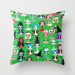 Spooky Dolls on Green Throw Pillow