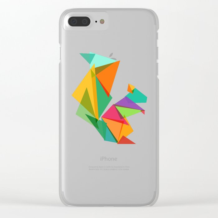 Fractal geometric Squirrel Clear iPhone Case