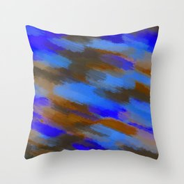 camouflage splash painting abstract in blue brown and dark blue Throw Pillow