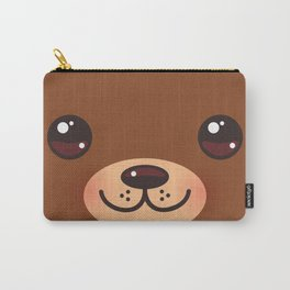 Cute Cartoon Kawaii funny brown bear muzzle with pink cheeks and big eyes Carry-All Pouch