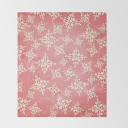 Red and Gold Snowflakes 1 Throw Blanket