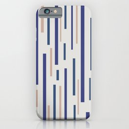 Interrupted Lines Mid-Century Modern Minimalist Pattern in Blue, Purple on a Pale Gray Background iPhone Case