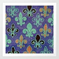 fleur de lis Art Prints featuring Fleur de lis #6 by Camille