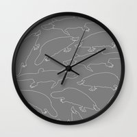 platypus Wall Clocks featuring Platypus by Halfmoon Industries