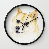 doge Wall Clocks featuring Wow Doge by ItsSabbyG