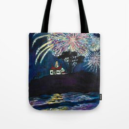 Crescent City Fourth of July ~ Battery Point Lighthouse Tote Bag