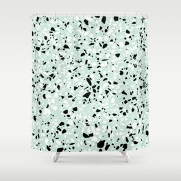 'Speckle Party' Mint Green Black White Dots Speckle Trendy Sporty Pattern Shower Curtain