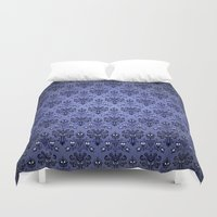 haunted mansion Duvet Covers featuring Beauty Haunted Mansion Wallpaper Stretching Room by ThreeBoys