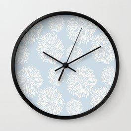 Sleepy Blue Zinnias Wall Clock