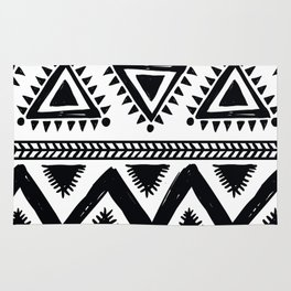 Tribal black and white Rug