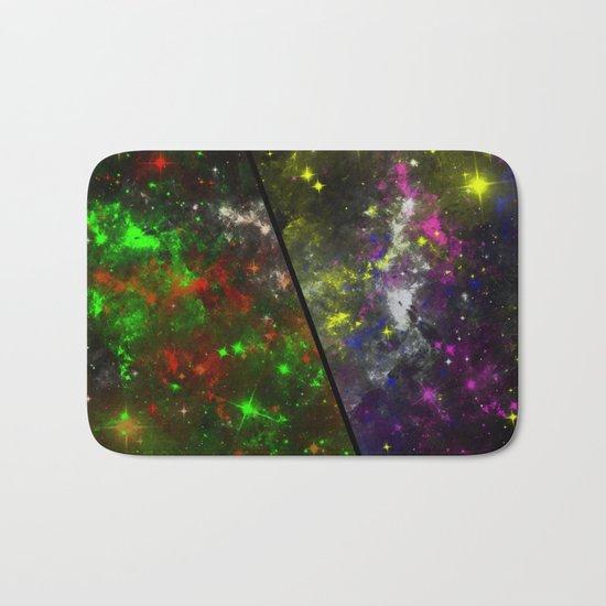 Parallel Universe - Split 'space' artwork showing 2 opposing galaxies Bath Mat