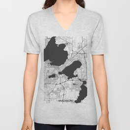 Madison Map Gray Unisex V-Neck