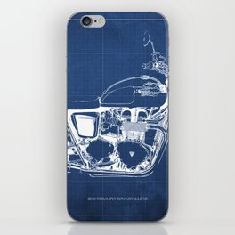 2010 Triumph Bonneville SE, motorcycle blueprint, husbands gift, offer, original poster, fathers day iPhone Skin