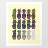 pineapples Art Prints featuring Pineapples by Hinterlund