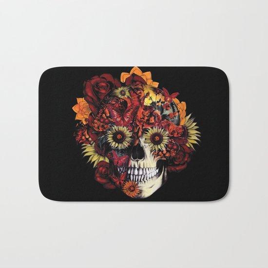 Full circle...Floral ohm skull Bath Mat