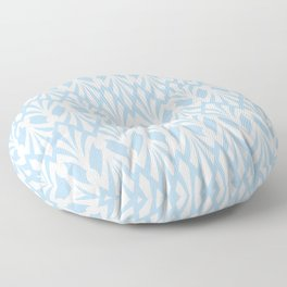 Decorative Plumes - White on Pastel Blue Floor Pillow