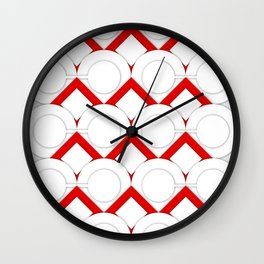 White Circles And Red Squares Abstract Geometric Pattern Wall Clock