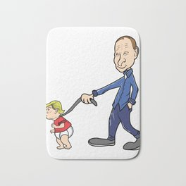 Putin Trump Leash Russia Satire Funny Gift Bath Mat
