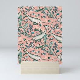 Narwhal Toile - peach pink Mini Art Print