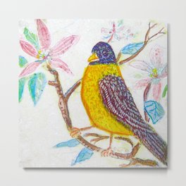 Songbird Etched and Painted by Catherine Coyle  Metal Print