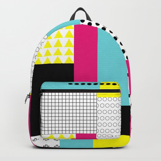 Print in memphis style design Backpack